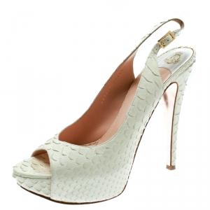 Gina White Python Embossed Leather Peep Toe Platform Slingback Sandals Size 40 - used