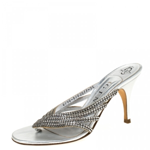 Gina Silver Crystal Embellished Leather Sandals Size 36.5 - used