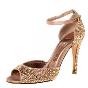 Gina Metallic Bronze Crystal Embellished Ankle Strap Sandals Size 37.5 - used