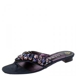 Gina Metallic Blue Nubuck Crystal Emebllished Thong Flat Sandals Size 41 - used