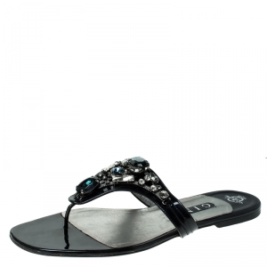 Gina Black Patent Leather Embellished Thong Flat Sandals Size 41.5 - used