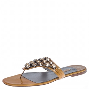 Gina Mustard Patent Leather Studded Thong Flat Sandals Size 41 - used