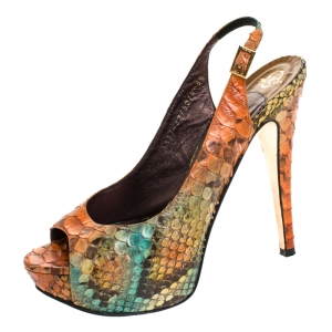Gina Multicolor Python Leather Peep Toe Platform Slingback Sandals Size 38.5 - used