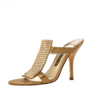 Gina Gold Leather Crystal Embellished Slip On Sandals Size 37.5 - used