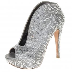 Gina Grey Satin Crystal Embellished Calamity Boots Size 37.5 - used