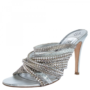 Gina Silver Crystal Embellished Leather Strappy Sandals Size 39 - used