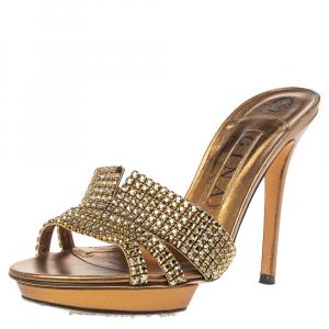 Gina Bronze Leather Crystal Embellished Platform Sandals Size 39 - used