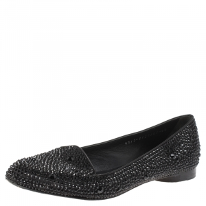 Gina Black Crystal Embellished Satin Ballet Flats Size 37.5 - used