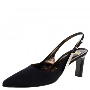 Gina Black Canvas Pointed Toe Slingback Sandals Size 40