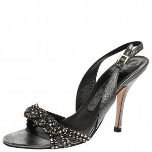 Gina Metallic Grey Crystal Embellished Naomi Slingback Sandals Size 37.5
