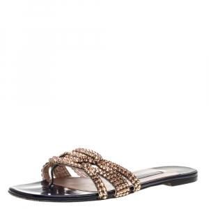 Gina Purple/Metallic Crystal Embellished Patent Leather Athena Slide Flats Size 38.5