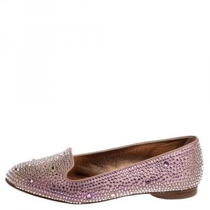 Gina Pink Crystal Embellished Satin Flats Size 38.5