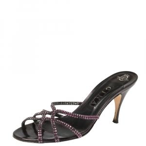 Gina Plum Leather Crystal Embellished Slide Sandals Size 40