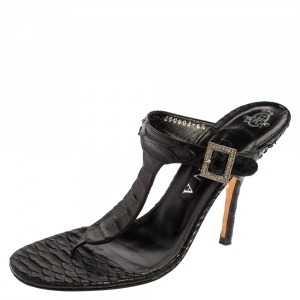 Gina Black Python Crystal Embellished Thong Sandals Size 39.5
