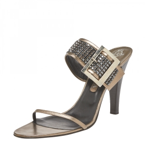 Gina Metallic Leather Crystal Embellished Ankle Wrap Sandals Size 41