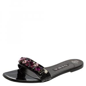 Gina Black Leather Crystal Embellished Flat Slides Size 40