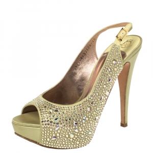 Gina Green Satin Sion Swarovski Slingback Sandal Size 38.5 - used