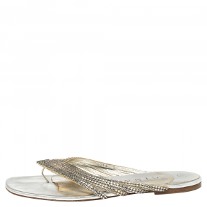 Gina Silver Leather Crystal Embellished Thong Flats Size 41