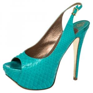 Gina Blue Python Embossed Leather Peep Toe Platform Slingback Sandals Size 39 - used