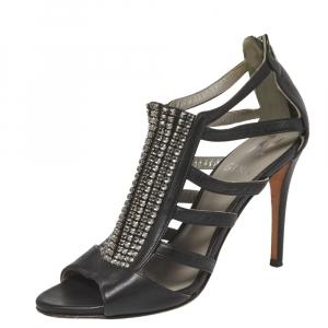 Gina Black Leather Crystal Embellished Sandals Size 37.5