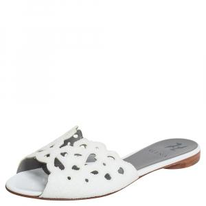 Gina White Patent Leather Crystal Embellished Flat Slide Sandals Size 38.5 - used