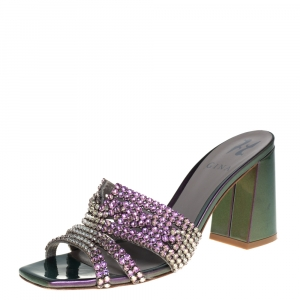 Gina Multicolor Kaleido Patent Leather Arizona Slide Sandals Size 37.5