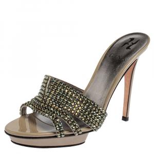 Gina Green Leather Crystal Embellished Aliseo Sandals Size 39