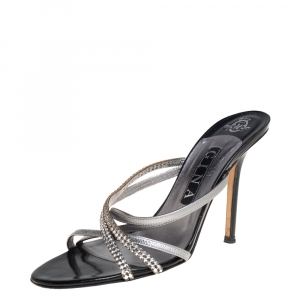 Gina Silver/Black Leather Crystal Embellished Strappy Sandals Size 39 - used