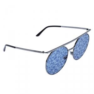 Giorgio Armani Gunmetal Tone/ Silver and Blue Flower Pad Print AR 6069 Round Sunglasses
