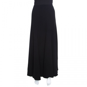 Giorgio Armani Black Silk Crepe Paneled Maxi Skirt S