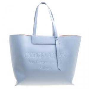 Giorgio Armani Pale Blue Leather Shopper Tote
