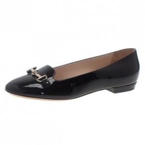 Giorgio Armani Black Patent Embellished Loafers Size 37