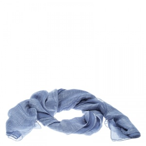 Giorgio Armani Blue Double Faced Linen and Silk Scarf