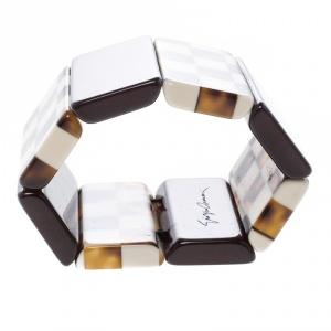 Giorgio Armani Brown Resin Wide Adjustable Bracelet