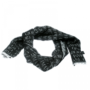 Giorgio Armani Black Logo Pattern Wool and Modal Jacquard Fringed Edge Scarf
