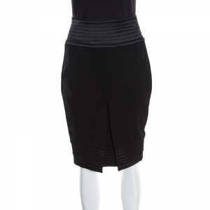 Giorgio Armani Black Quilt Detail Fitted Pencil Skirt S