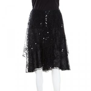 Giorgio Armani Black Sequined Layered Tulle Skirt M
