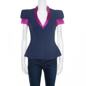 Giorgio Armani Navy Blue Silk Contrast Trim Detail Short Sleeve Jacket S