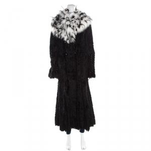 Giorgio Armani Black Sheared Mink Contrast Fox Collar Long Coat L