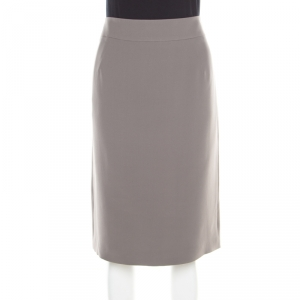 Giorgio Armani Grey Silk Back Slit Detail Pencil Skirt L