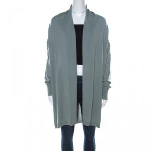 Giorgio Armani Sage Green Wool and Silk Pleated Yoke Detail Cardigan M