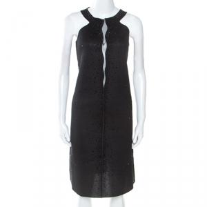Giorgio Armani Black Dress Perforated Scuba Embellished Detail Dress M - used