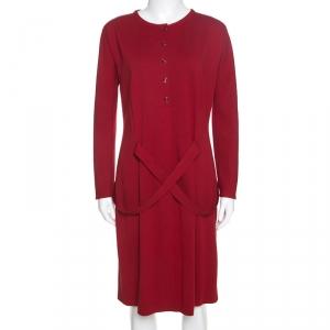 Giorgio Armani Red Stretch Knit Belt Detail Dress M