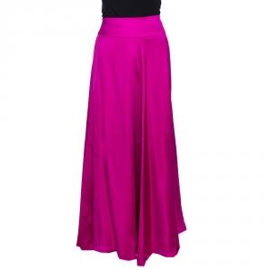 Giorgio Armani Fuchsia Pink Silk Flared Maxi Skirt L