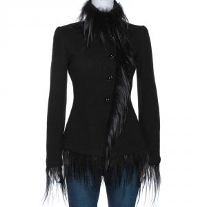 Giorgio Armani Black Wool Fur Lined Jacket S