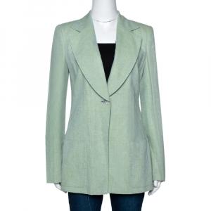 Giorgio Armani Green Linen One Button Tailored Jacket M