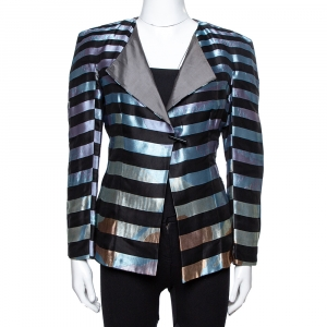 Giorgio Armani Multicolor Striped Jacquard Toggle Button Jacket S
