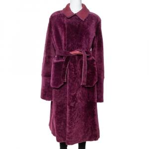 Giorgio Armani Burgundy Shearling Belted Coat M - used