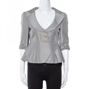 Giorgio Armani Grey Metallic Jacquard Patterned Peplum Jacket S