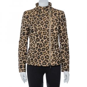 Giorgio Armani Leopard Pattern Jacquard Zip Front Jacket M